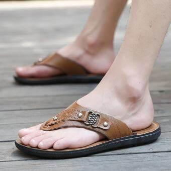Mituxiaoluชายชายหาดรองเท้าแตะรองเท้าแตะลำลองรองเท้าแตะสีน้ำตาล (สีน้ำตาล) - นานาชาติ