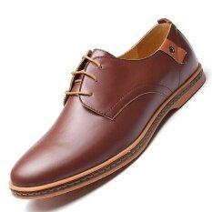 Men Business Dress Leather Shoes Flat European Casual Oxfords Lace Up Plus Size Intl เป็นต้นฉบับ