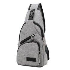 ซื้อ Men Canvas Chest Bag Outdoor Multifunction Crossbody Bag With Usb Port Grey Intl ใหม่ล่าสุด