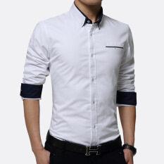 ขาย ซื้อ Men Casual Formal Business Dress Shirt Long Sleeve Male Solid Plus Size Shirt Intl จีน