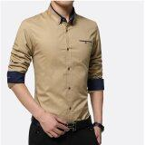 ซื้อ Men Casual Formal Business Dress Shirt Long Sleeve Male Solid Plus Size Shirt Intl ออนไลน์ ถูก