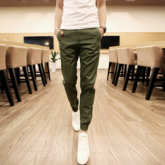 ซื้อ Men Casual Harem Pant Male Slim Fit Shrinkage Foot Trousers Cotton Sport Jogger Feet Pant Army Green Intl ถูก