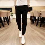 ขาย ซื้อ ออนไลน์ ผู้ชายกางเกงลำลองลำลองกางเกงชายผอมกระชับเท้ากางเกงฝ้ายกีฬากางเกงขาเท้ากางเกง สีดำ สนามบินนานาชาติ