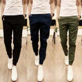 Men Casual Harem Pant Male Slim Fit Shrinkage Foot Trousers Cotton Sport Jogger Feet Pant Blue Intl ถูก