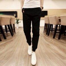 ซื้อ ผู้ชายกางเกงลำลองลำลองกางเกงชายผอมกระชับเท้ากางเกงฝ้ายกีฬากางเกงขาเท้ากางเกง สีดำ สนามบินนานาชาติ ใหม่