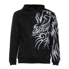 Men Casual Slim รูปแบบมังกรพิมพ์ Hooded Sweatshirt ฤดูใบไม้ร่วง เป็นต้นฉบับ