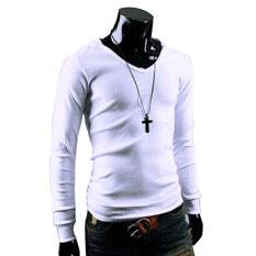 ส่วนลด Men Casual Slim Hooded Hoodies White Intl Thailand