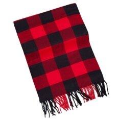 ซื้อ Men Classic Super Soft Cashmere Feel Winter Warm Tartan Checked Plaid Fringe Scarf 69X15In Intl ถูก