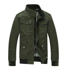 ส่วนลด แฟชั่นผู้ชายผ้าฝ้ายเสื้อ Windproof ฤดูหนาว Coat Army Green Unbranded Generic ใน จีน