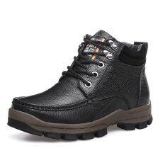 ราคา รองเท้าแฟชั่นผู้ชายส้นสูงรองเท้าแฟชั่นรองเท้าบู๊ทหิมะอบอุ่น ใหม่