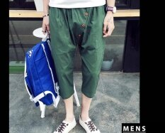 ราคา Men Fashion Solid Colors Personality Hanging Crotch Seven Points Pants Men Leisure Tide Man Seven Points Pants Selling Well Intl ใหม่