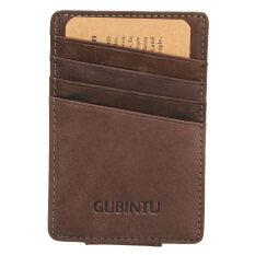 กระเป๋าสตางค์หนังแท้บางคนเงินน้อยถือบัตรบัตรเครดิตกระเป๋าหน้ากาแฟ เป็นต้นฉบับ