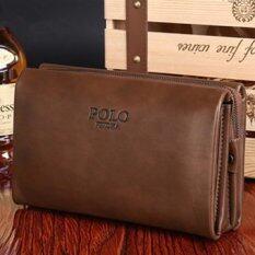 ขาย Men Handbag Cowhide Leather Clutch Large Capacity Wallet Casual Wrist Bag Business Purse Small Size Khaki Int L ผู้ค้าส่ง