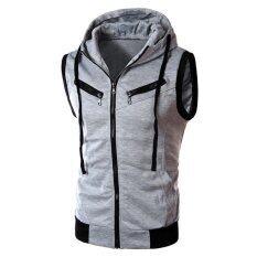 ขาย Hoodie Zipper Jackset Vset Waitcoat Top Hooded Coat Light Gray Vakind ผู้ค้าส่ง