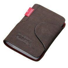 โปรโมชั่น กระเป๋าหนังใส่บัตร 20 ช่อง ขนาดเล็กสำหรับผู้ชาย สีกาแฟเข้ม ถูก