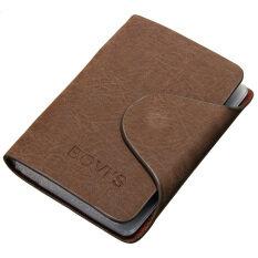 ส่วนลด สินค้า Men Leather Business Credit Card Case Id Pocket Mini Wallet Holder Bag 20 Slots Light Coffee