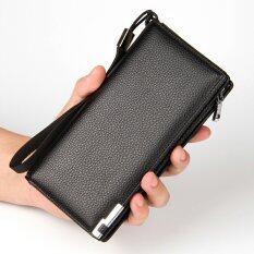 ราคา ราคาถูกที่สุด กระเป๋าสตางค์หนังแท้หนังยาวคนซิปกระเป๋าถือโทรศัพท์มือถือมัลติฟังก์ชั่นชายหนุ่มกระเป๋าคลัตช์ สีดำ
