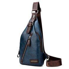 ขาย คนประกอบด้วยชายสันทนาการกระเป๋าสะพายกระเป๋าเป้กระเป๋าสะพายห่อหนึ่งห่อกระเป๋าหน้าอกเอว สีน้ำเงิน ไม่มีกระเป๋าสตางค์ ออนไลน์