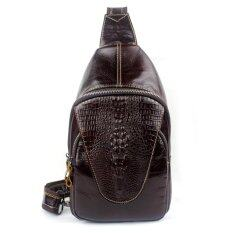 ราคา Men S Genuine Leather Crossbody Chest Bag Hiking Sling Daypack Red Coffee Intl จีน