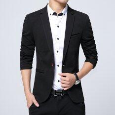 ขาย เสื้อสูทแบบบุรุษพอดีกับฝ้ายเสื้อสูทแจ็คเก็ตสูทสีดำสีกากีสีฟ้าบวกขนาดเอ็มถึง 5Xl เสื้อคลุมชาย สีดำ ใน จีน