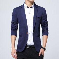 ขาย เสื้อสูทแบบบุรุษพอดีกับฝ้ายเสื้อสูทแจ็คเก็ตสูทสีดำสีกากีสีฟ้าบวกขนาดเอ็มถึง 5Xl เสื้อคลุมชาย สีฟ้า Unbranded Generic เป็นต้นฉบับ