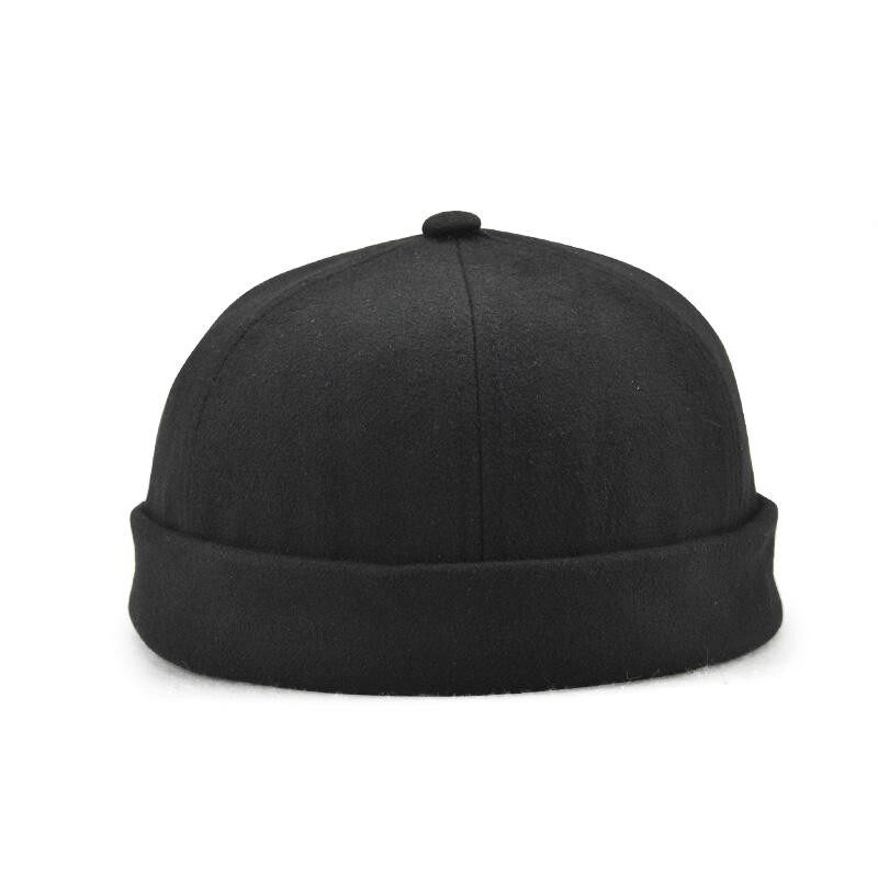 Men Solid French Bucket Cap Flanging Skullcap Sailor Cap Rolled Cuff Retro Fashion Brimless Hats - intl