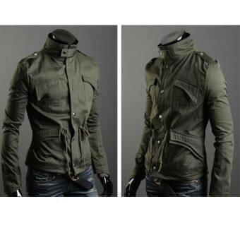 Men เข้ารูปพอดี Zip Coat JACKET 3 สี (สีเขียว)-