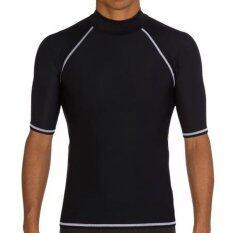 ชุดว่ายน้ำชายฤดูร้อนแขนสั้นดำน้ำ Rashguard Surf ดำน้ำตื้นเสื้อทีเสื้อวินเซิร์ฟ (สีดำ).