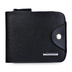 ขาย ผู้ชายกระเป๋าสตางค์แบบสั้นกระเป๋าสตางค์ของแข็งตัวอักษรสีกลอนซิป 01 สีดำ สนามบินนานาชาติ