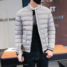 โปรโมชั่น ชายแจ็คเก็ตแจ็คเก็ตฤดูหนาวเป็ดลงแจ็คเก็ตผู้ชายบางแขนยาวเสื้อปาร์เกอะซิป นานาชาติ