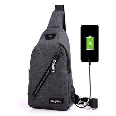 ขาย Men Usb Charging Canvas Chest Backpack Travel Messenger Shoulder Sling F*nny Bag Black ถูก