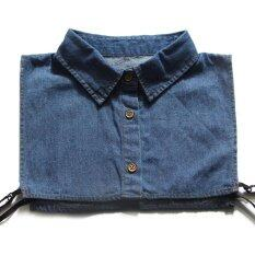 ผู้ชายผู้หญิง Denim False เสื้อครึ่งตัวปลอมๆที่ถอดออกได้เสื้อชี้ปลอกคอหน้าอกยางยืด - Intl.