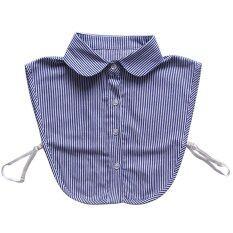 ผู้ชายผู้หญิง Striping ปลอมครึ่งเสื้อที่ถอดออกได้เสื้อชี้ปลอกคอหน้าอกยางยืด - Intl.