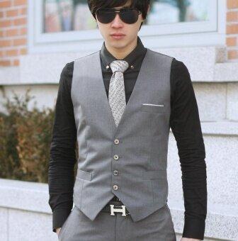 Men's Business Jacket Casual Vest Waistcoat (gray) - intl