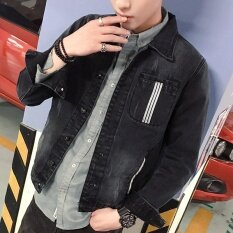 ขาย Men S Casual Turn Down Collar Plus Size Regular Athletic Jackets Standare Denim Coats With Vintage Black Intl Small Wow ผู้ค้าส่ง