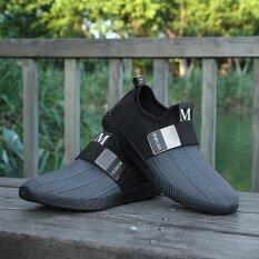 ขาย Men S Fashion Slip On Running Shoes Sport Sneakers New Outdoor Casual Shoes Grey Intl Moffi ออนไลน์