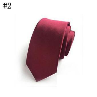 ผู้ชายอย่างเป็นทางการทางการค้าเน็คไท Skinny โพลีเอสเตอร์ผ้าไหมเนกไทธุรกิจสำนักงานพรรคแต่งงาน TIES (Burgundy) - นานาชาติ
