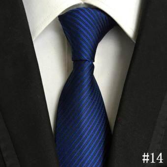 ชายทางการทางการค้าเน็คไทผ้าโพลีเอสเตอร์ผ้าไหมเนกไทธุรกิจสำนักงานงานแต่งงานแฟชั่นผูกคลาสสิก (สีน้ำเงินเข้ม)