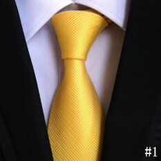 Mens Formal Commercial Tie Strip Polyester Silk Neckties Business Office Vintage Wedding Fashion Classic Ties(yellow) By Lightdream.