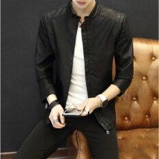 ขาย ผู้ชายแจ็คเก็ตขาตั้งคอปกเสื้อนอกเสื้อโค้ทเสื้อลำลองลำลองสีดำ สนามบินนานาชาติ Angelcitymall ใน จีน