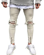Men S Street Fashion Hiphops Knee Hole Stretch Denim Pants Ripped Skinny Bottom Zipper Biker Jeans Beige Intl ถูก