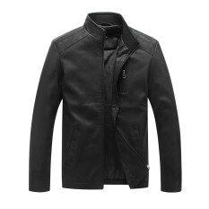 ซื้อ ผู้ชาย 03 เบสบอลปกเสื้อโค้ตหนังเกาหลีหนังชายแจ็คเก็ตบางสีดำ ถูก