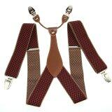 ขาย Men S Adjustable Clip On Elastic Suspenders Unisex Plaid Braces 3 5Cm Width Bd629 Unbranded Generic ใน จีน