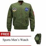 โปรโมชั่น Mens Air Force Embroidered Badge Baseball Bomber Jackets Free Mens Sports Watch Intl ใน จีน