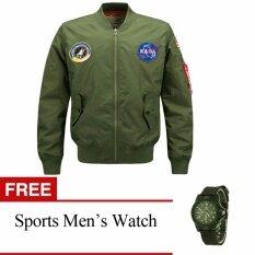 โปรโมชั่น Mens Air Force Embroidered Badge Baseball Bomber Jackets Free Mens Sports Watch Intl ถูก