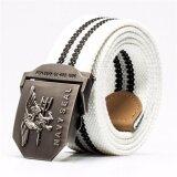 ราคา เข็มขัดผู้ชาย เข็มขัด ผู้ชาย Mens Automatic Buckle Canvas Belt Thickening White ที่สุด