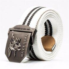 ซื้อ เข็มขัดผู้ชาย เข็มขัด ผู้ชาย Mens Automatic Buckle Canvas Belt Thickening White ออนไลน์ ถูก