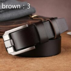 ซื้อ Men S Belt Leather Buckle Pure Leather Casual Business Men S Belt Youth Middle Aged Retro Belt Korean Version Of The Tide Brown 3 Intl