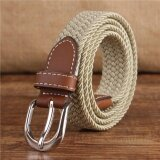 เข็มขัดผู้ชาย เข็มขัด ผู้ชาย Mens Casual Belt Canvas Elastic Buckle Waist Strap Rugged Classic Jean Belt Cream Thailand