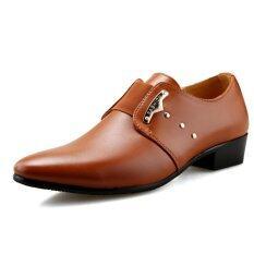 ส่วนลด แฟชั่นผู้ชายรองเท้าหนังอังกฤษชี้รองเท้าหนังลื่น สีน้ำตาล สนามบินนานาชาติ Unbranded Generic ใน จีน